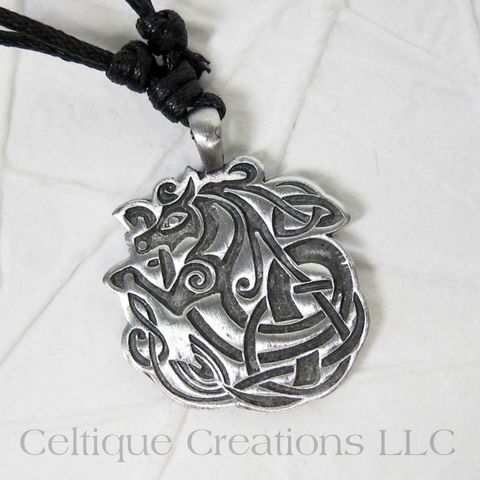 Celtic Water Horse Fine Pewter Adjustable Necklace - product images  of