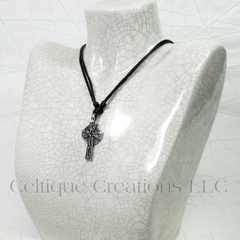 Celtic High Cross Adjustable Fine Pewter Necklace - product images  of