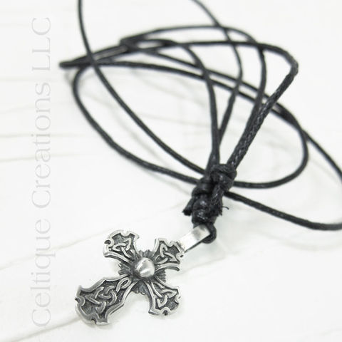 Trinity Knot Celtic Cross Fine Pewter Adjustable Necklace - product images  of