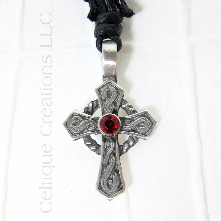 Celtic Cross Fine Pewter Adjustable Necklace with Red Rhinestone - product images  of
