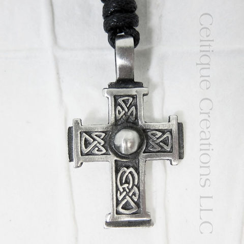 Bold Celtic Cross Fine Pewter Adjustable Necklace - product images  of