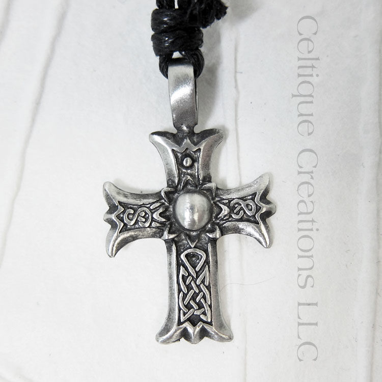 Celtic Cross Adjustable Necklace Fine Pewter with Flaired Ends - product images  of