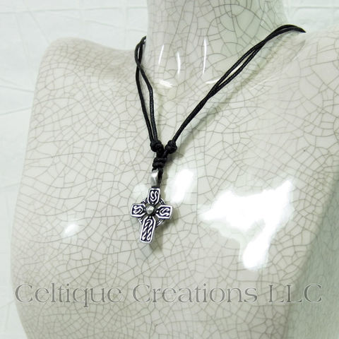 Celtic Cross Twist Knot Necklace Adjustable Fine Pewter - product images  of