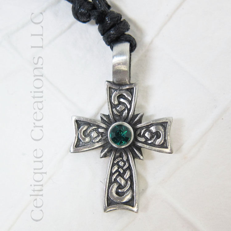 Celtic Cross Fine Pewter Adjustable Necklace with Kelly Green Rhinestone - product images  of