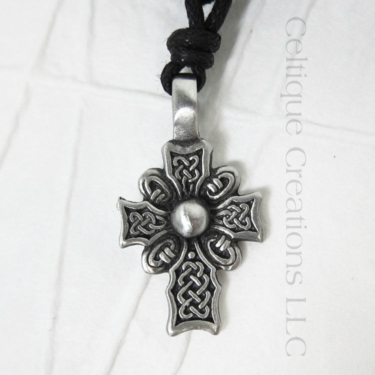 Celtic Knotwork Cross Necklace Adjustable Fine Pewter - product images  of