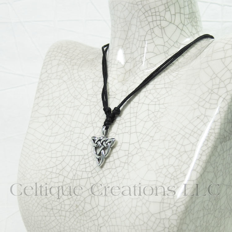 Celtic Open Knot Triqetra Fine Pewter Adjustable Necklace - product images  of