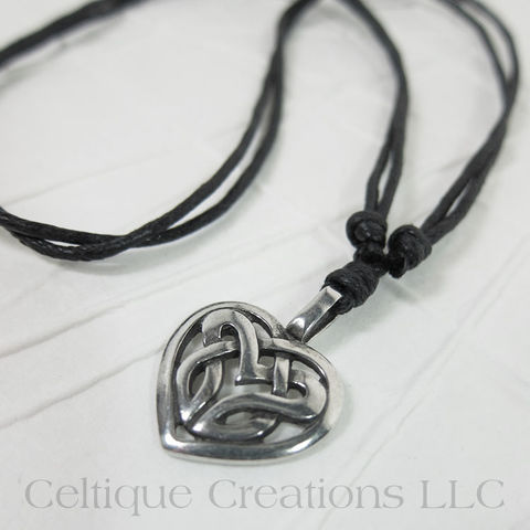 Celtic,Knot,Heart,Fine,Pewter,Adjustable,Necklace,Celtic Heart Necklace, Celtic Love Knot, Celtic Heart, Celtic Jewelry, Celtic Necklace, Love Knot Necklace, Love Knot Jewelry, Celtique Creations