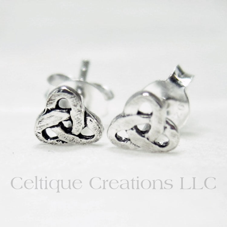 Small Trinity Knot Sterling Silver Stud Earrings - product images  of