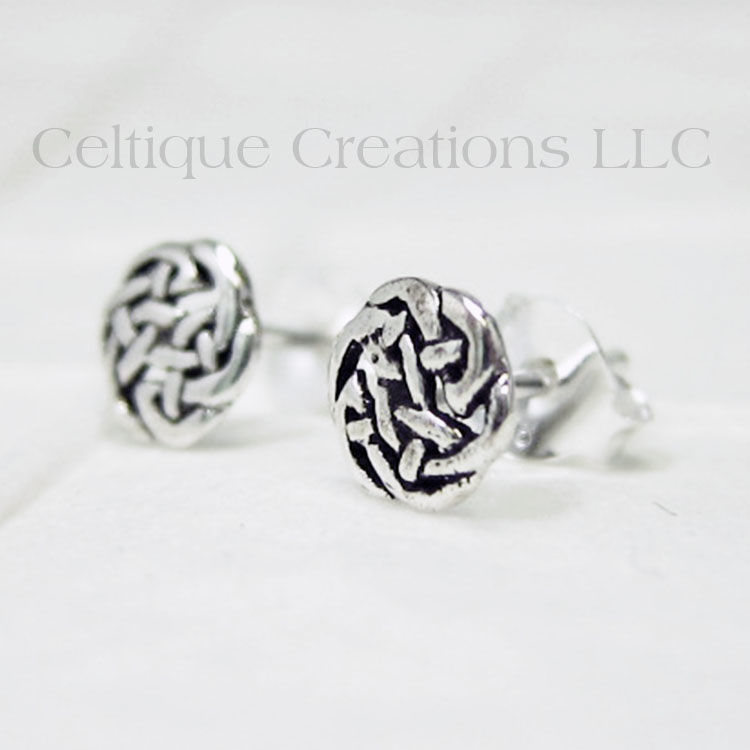 Celtic Circle Knot Sterling Silver Stud Earrings - product images  of
