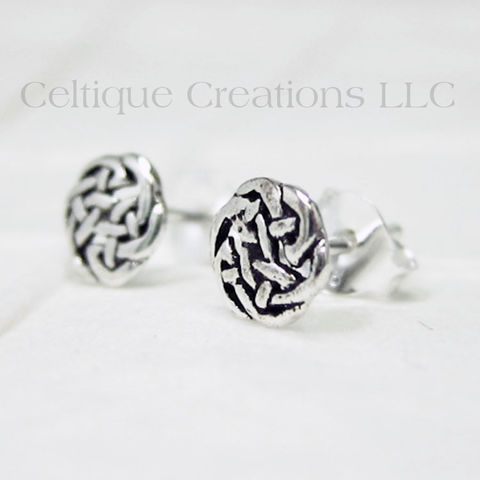 Celtic,Circle,Knot,Sterling,Silver,Stud,Earrings,Celtic Knot Earrings, Sterling Silver Celtic Knot Earrings, Celtic Knot Stud Earrings, Celtic Knot Post Earrings, Celtic Jewelry, Celtique Creations