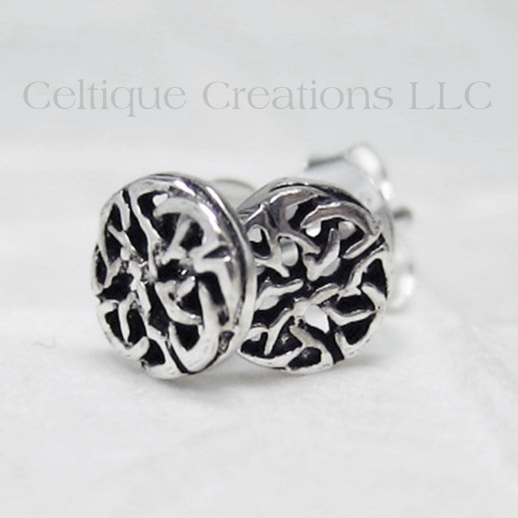 Celtic Interlocking Trinity Knot Sterling Silver Stud Earrings - product images  of