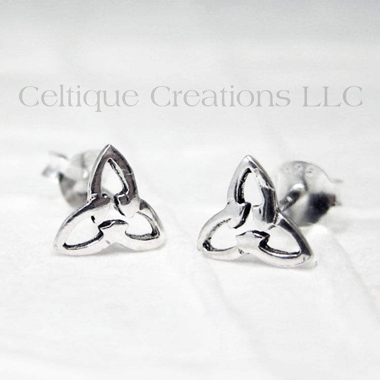 Celtic Triquetra Knot Sterling Silver Stud Earrings - product images  of