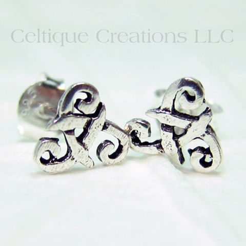 Celtic Triskele Trinity Knot Sterling Silver Stud Earrings - product images  of