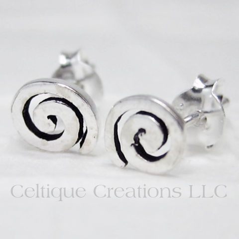 Celtic,Spiral,Sterling,Silver,Stud,Earrings,Celtic Spiral, Spiral, Celtic Spiral Earrings, Spiral Sterling Silver Earrings, Celtic Sterling Silver Earrings, Stud Earrings, Post Earrings, Celtic Jewelry, Celtique Creations