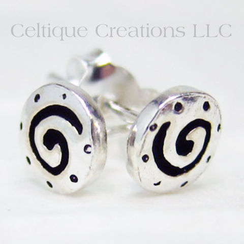 Etched Celtic Spiral Sterling Silver Stud Earrings - product images  of