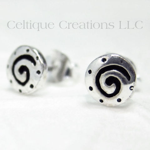 Etched,Celtic,Spiral,Sterling,Silver,Stud,Earrings,Celtic Spiral, Spiral, Celtic Spiral Earrings, Spiral Sterling Silver Earrings, Celtic Sterling Silver Earrings, Stud Earrings, Post Earrings, Celtic Jewelry, Celtique Creations