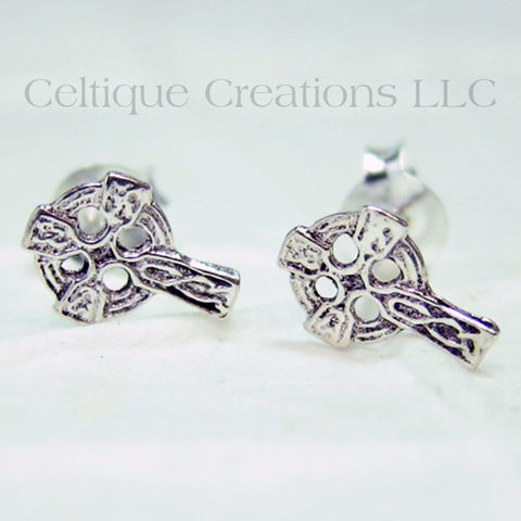 Celtic Cross Sterling Silver Stud Earrings - product images  of