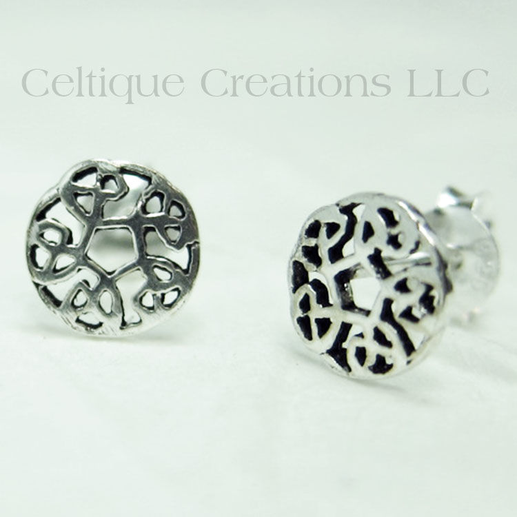Circle Celtic Knot Sterling Silver Stud Earrings - product images  of