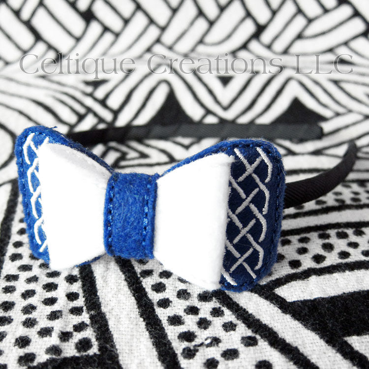 Royal Blue and White Celtic Hair Bow Headband - product images  of