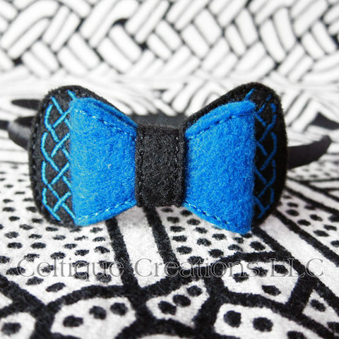 Celtic Bow Headband Handmade Black and Blue - product images  of
