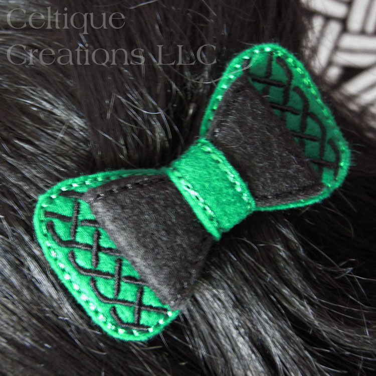 Celtic Hair Bow Handmade Barrette Green and Black - product images  of