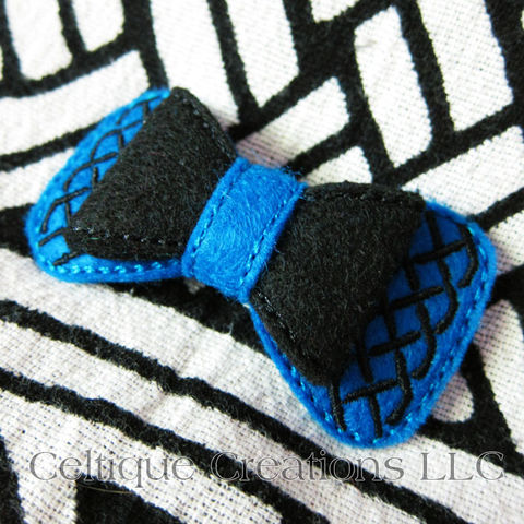 Celtic,Bow,Barrette,Handmade,Blue,and,Black,Celtic Bow, Celtic Hair Bow, Celtic Barrette, Handmade Celtic Bow, Handmade Celtic Barrette, Blue and Black Hair Bow, Celtique Creations
