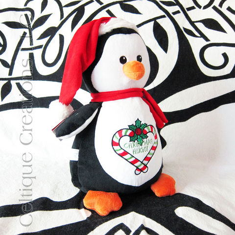 Christmas,Hugs,Penguin,Cubbies,Embroidered,Stuffed,Animal,Christmas Stuffed Animal, Christmas Penguin, Penguin Stuffed Animal, Penguin Soft Toys, Cubbies, Embroidered Stuffed Animal, Celtique Creations