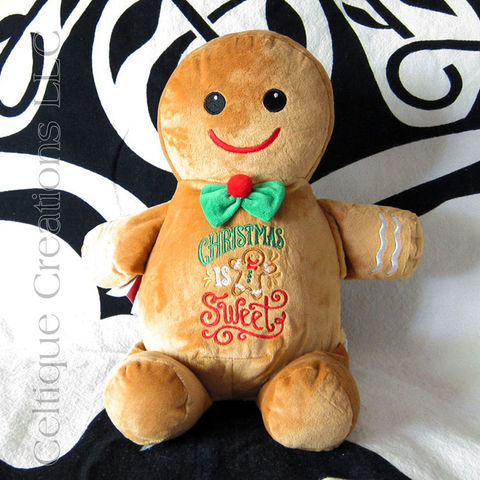 Christmas,Gingerbread,Man,Cubbies,Stuffed,Toy,Gingerbread Man Stuffed Animal, Gingerbread man Stuffed Toy, Cubbies Gingerbread Man, Christmas Cookie, Gluten Free Christmas Cookie, Sugar Free Christmas Cookie, Christmas Gift, Celtique Creations, Embroidered Stuffed Animal