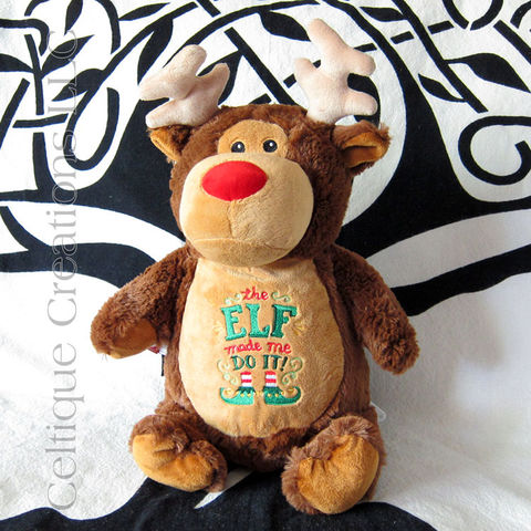 Reindeer,Cubbies,Stuffed,Animal,Christmas,Troublemaker,Reindeer Stuffed Animal, Christmas Stuffed Animal, Christmas Stuffed Animal Gift, Cubbies, Cubbies Reindeer, Christmas Cubbies, Embroidered Christmas Reindeer, Celtique Creations