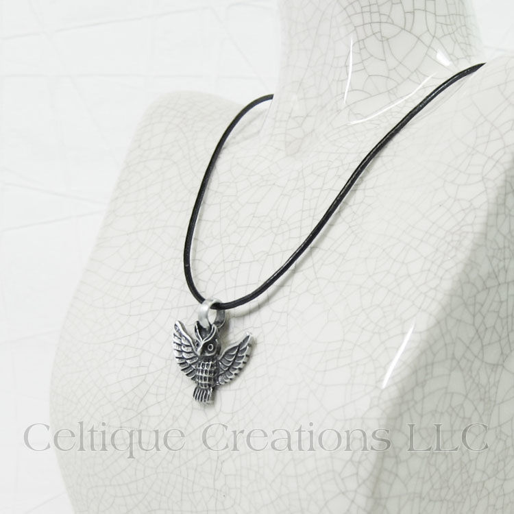 Owl Necklace Handmade Adjustable with Pewter Pendant - product images  of