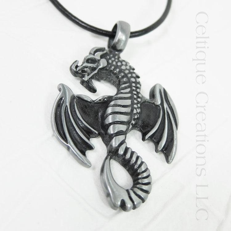 Flying Dragon Necklace Handmade Adjustable - product images  of