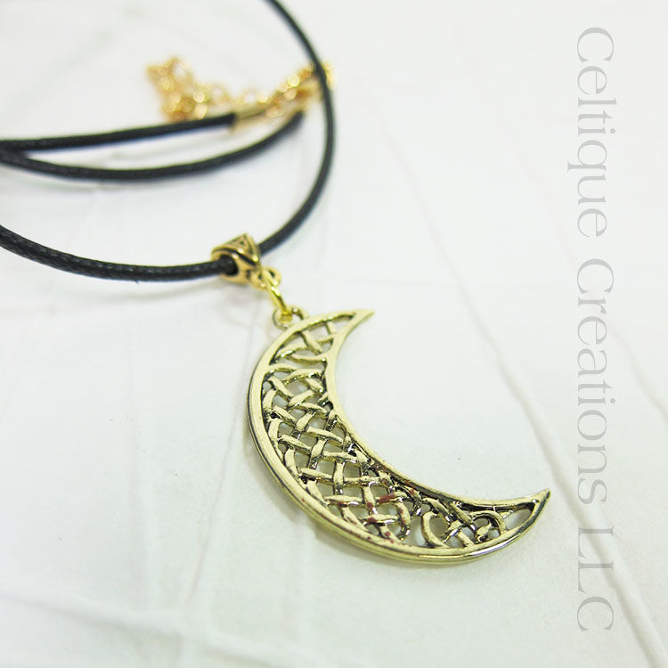 Celtic Knot Moon Necklace Gold Handmade Adjustable - product images  of