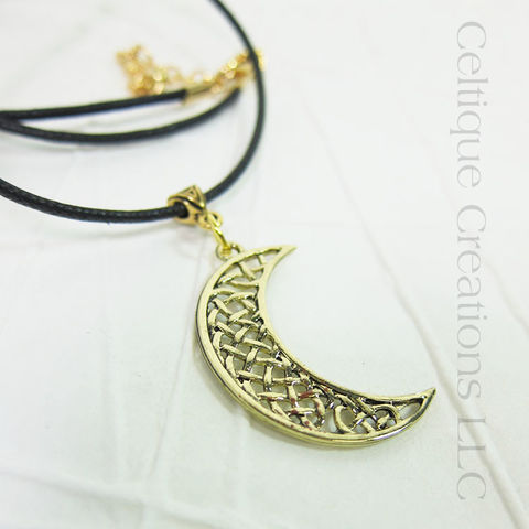 Celtic,Knot,Moon,Necklace,Gold,Handmade,Adjustable,Gold Celtic Jewelry, Celtic Moon Necklace, Handmade Celtic Moon Necklace, Celtic Moon Jewelry, Gold Celtic Moon Necklace, Handmade Celtic Necklace, Celtique Creations
