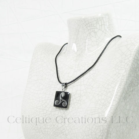 Handmade Triskele Necklace with Wood and Steel Pendant - product images  of