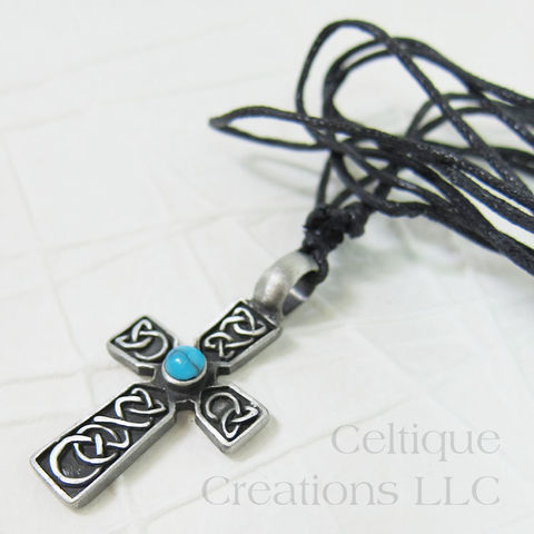 Celtic,Cross,with,Stone,Necklace,Adjustable,Celtic Cross with Imitation Turquoise, Celtic Cross with Stone, Celtic Cross Necklace, Celtic Necklace, Celtic Jewelry, Celtique Creations
