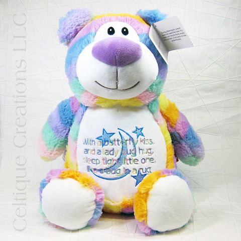 Personalized,Pastel,Rainbow,Bear,Cubbies,Stuffed,Animal,Personalized Stuffed Animal, Personalized Teddy Bear, Rainbow Teddy Bear, Pastel Teddy Bear, Cubbies Stuffed Animal, Cubbies Bear, Personalized Gift, Celtique Creations