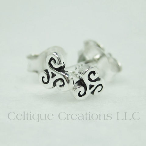 Extra,Petite,Triskele,Sterling,Silver,Stud,Earrings,Triskele Earrings, Celtic Triskele Earrings, Triple Spiral Earrings, Sterling Silver Triskele Earrings, Celtic Jewelry, Sterling Silver Celtic Jewelry, Celtique Creations