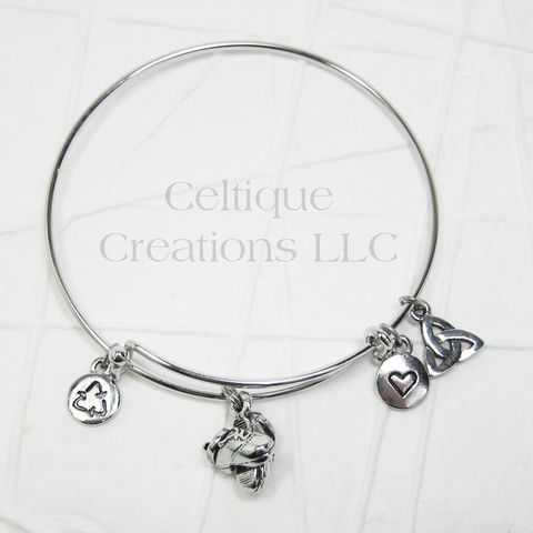 Irish Dance Hard Shoe Charm Bangle Bracelet Adjustable - product images  of
