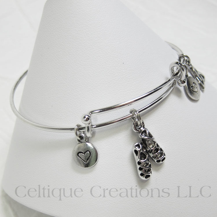Ghillies Dance Shoe Bangle Charm Bracelet Adjustable - product images  of