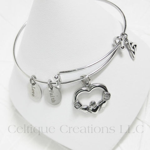 Claddagh,Charm,Bangle,Bracelet,with,Cubic,Zirconia, Claddagh Bracelet, Claddagh Charm Bracelet, Irish Charm Bracelet, Irish Jewelry, Trinity Knot, Love Jewelry, Cubic Zirconia, Celtique Creations