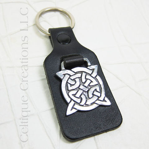 Square Celtic Knot St. Justin Pewter Key Ring - product images  of