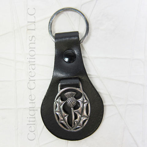 Scottish Thistle St. Justin Pewter Key Ring - product images  of