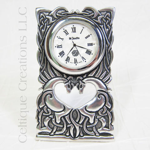 Celtic,Horses,St.,Justin,Pewter,Desk,Clock,Celtic Horses, Celtic Horse Clock, Celtic Pewter Desk Clock, St. Justin Pewter, St. Justin Pewter Desk Clock, Celtic Desk Clock, Celtique Creations