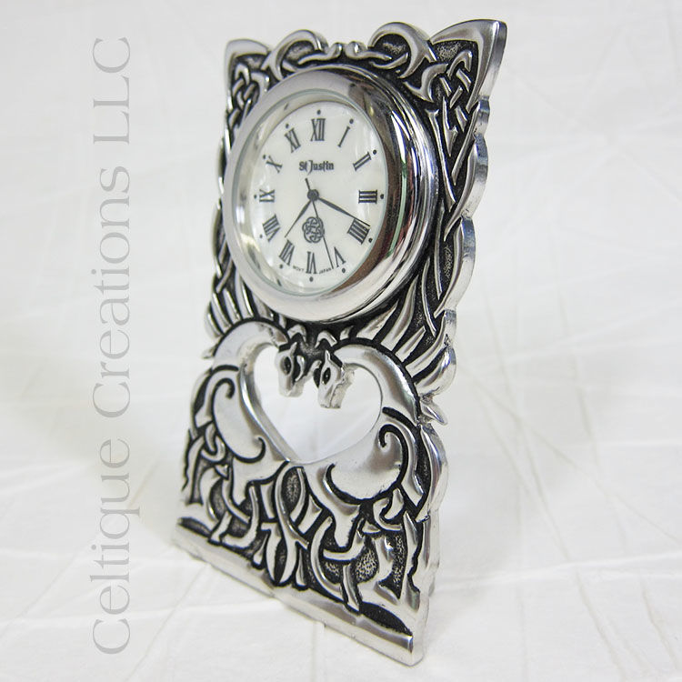 Celtic Horses St. Justin Pewter Desk Clock - product images  of