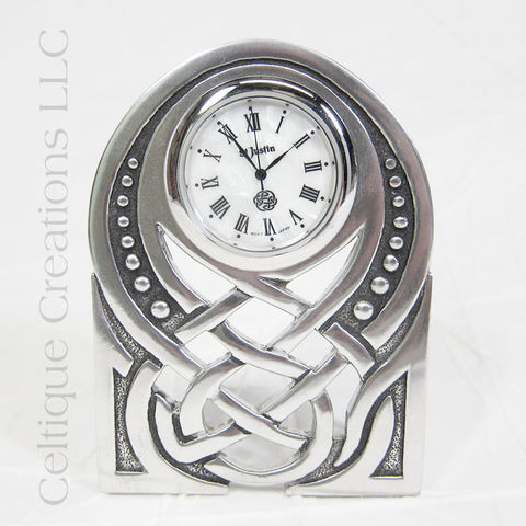 Celtic,Knot,St.,Justin,Pewter,Art,Nouveau,Vertical,Desk,Clock,Celtic Knot Clock, Celtic Desk Clock, Celtic Pewter Clock, Art Nouveau Clock, St. Justin Pewter Desk Clock, St. Justin Pewter, Celtique Creations