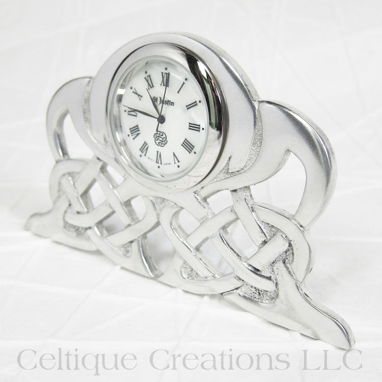 Celtic Knot St. Justin Pewter Art Nouveau Horizontal Desk Clock - product images  of