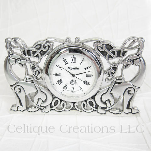 Celtic,Knotwork,Beasts,St.,Justin,Pewter,Desk,Clock,Celtic Beasts, Celtic Beasties, Celtic Beasts Clock, Celtic Desk Clock, Celtic Pewter Desk Clock, St. Justin Pewter, Celtique Creations