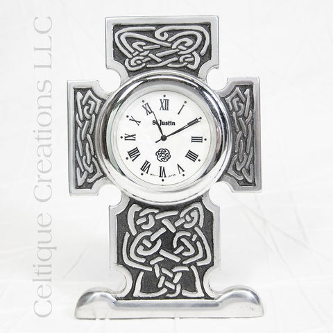 Squared,Celtic,Knot,Cross,St.,Justin,Pewter,Desk,Clock,Celtic Cross Clock, Celtic Knotwork Cross Clock, Celtic Cross Desk Clock, Celtic Desk Clock, Celtic Clock, St. Justin Pewter, Celtique Creations