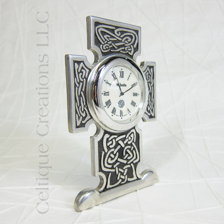 Squared Celtic Knot Cross St. Justin Pewter Desk Clock - product images  of