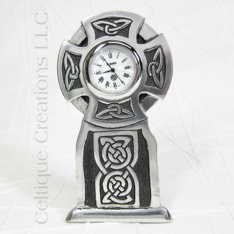 Round Celtic Cross St. Justin Pewter Desk Clock - product images  of